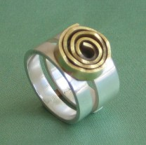 Ring with rose, silver and brass
