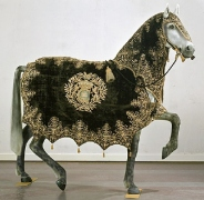 Horse cover, black with gold embroidery. Belonged to Queen Kristina of Sweden (1626-1689). Source: The Royal Armoury, Stockholm.